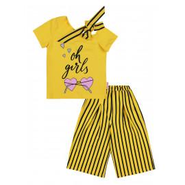 Костюм с кюлотами для девочки полоска, желтый