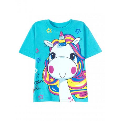 Футболка для  девочки Unicorn girl, голубой