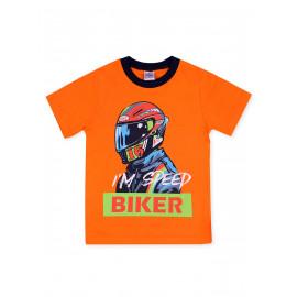 Футболка для мальчика Байкер, оранжевый