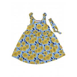 Комплект сарафан с повязкой Цветы, голубой