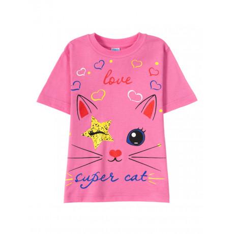 Футболка для девочки  Love super cat, розовый