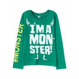 Лонгслив для мальчика I'm a monster, зеленый