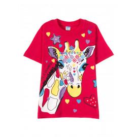 Футболка для девочки  Spotted giraffe, малиновый