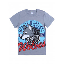 Футболка для мальчика Волк, серый