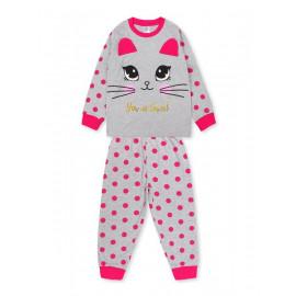 Пижама для девочки Киса, серый меланж