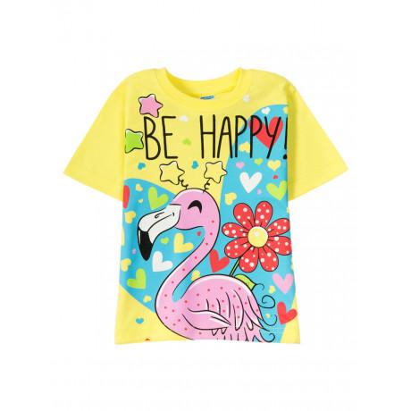 Футболка для  девочки Be happy flamingo, желтый
