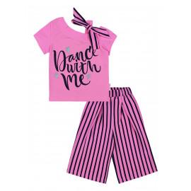 Костюм с кюлотами для девочки полоска, розовый