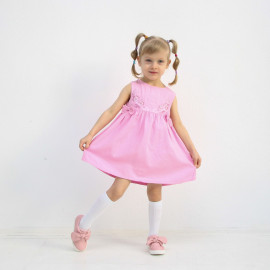 Платье сатиновое для девочки Вышивка, розовый