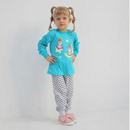 Пижама для девочки Единороги, бирюзовый