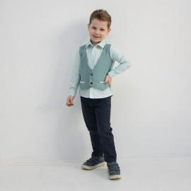 Рубашка для мальчика с имитацией жилета, зеленый