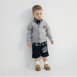 Кардиган для мальчика Эмблема, серый