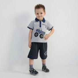 Костюм для мальчика Грузовичок, меланжевый/синий