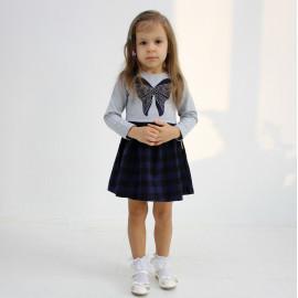 Платье для девочки клетчатое, темно-синий