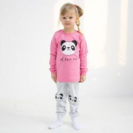 Пижама для девочки Панда, темно-розовый