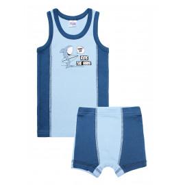 Комплект для мальчика (майка + боксеры) Акула, голубой