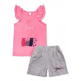 Костюм летний для девочки Кошки, розовый