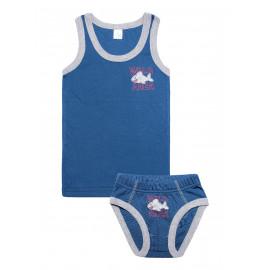 Комплект для мальчика (майка + трусы) Акула, джинсовый