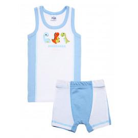 Комплект для мальчика (майка + боксеры) Динозаврики, белый