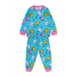 Пижама для девочки Кошки, бирюзовый