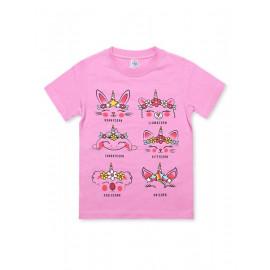 Футболка для девочки Корны, розовый