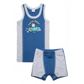 Комплект для мальчика (майка + боксеры) Мишка, джинсовый