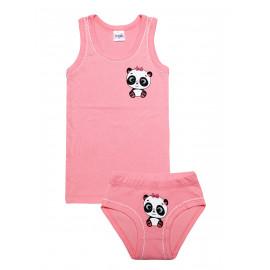 Комплект для девочки (майка + трусы) Панда, розовый