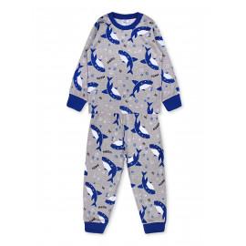 Пижама для мальчика Акулы, серый меланж