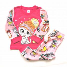 Пижама для девочки Кошка, малиновый