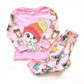 Пижама для девочки Кошка, розовый