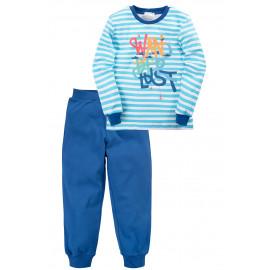 Пижама для мальчика Надпись, ярко-синий