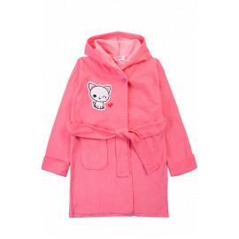 Халат банный для девочек Котик, ярко-розовый