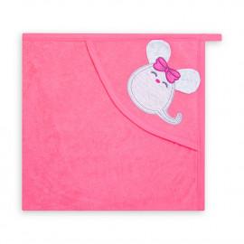 Полотенце-уголок махровое Мышка, ярко-розовый