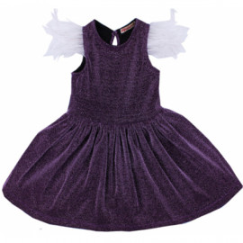 Платье нарядное для девочки с перьями, розовый