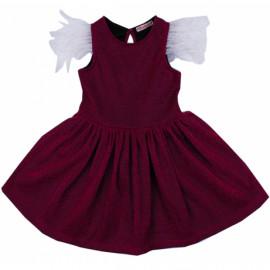 Платье нарядное для девочки с перьями, малиновый