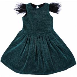 Платье нарядное для девочки с перьями, изумрудный