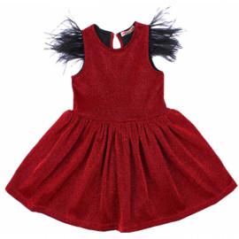Платье нарядное для девочки с перьями, красный