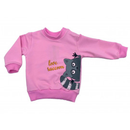 Свитшот для девочки Енот, розовый