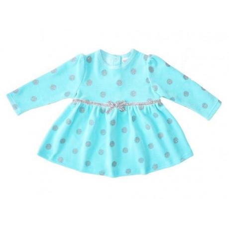 Платье велюровое для девочки, бирюзовый