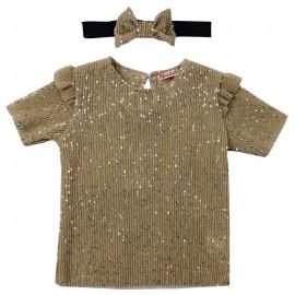 Комплект для девочки с повязкой, золотистый