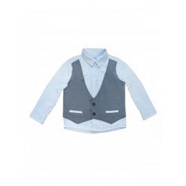 Рубашка для мальчика с имитацией жилета, голубой