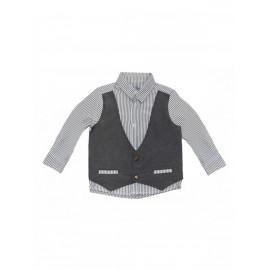 Рубашка для мальчика с имитацией жилета, серый