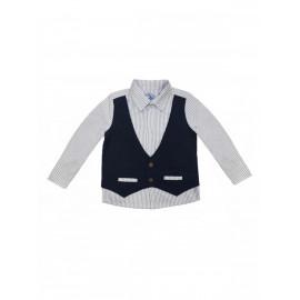 Рубашка для мальчика с имитацией жилета, темно-синий