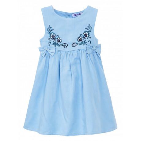 Платье сатиновое для девочки Вышивка, голубой