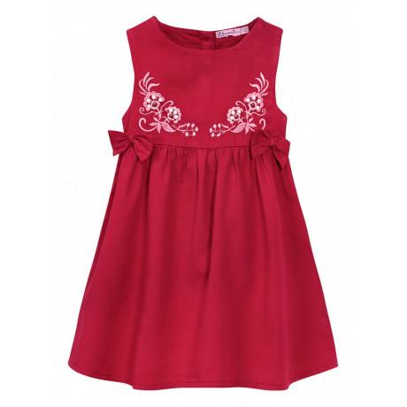 Платье сатиновое для девочки Вышивка, бордовый