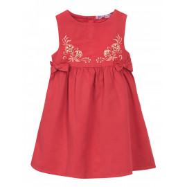 Платье сатиновое для девочки Вышивка, коралловый