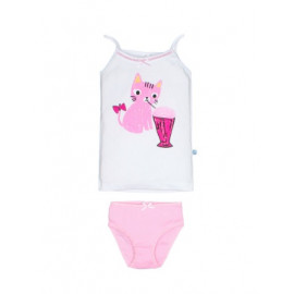 Комплект для девочки Котик с коктейлем, розовый