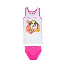 Комплект для девочки Песик, розовый