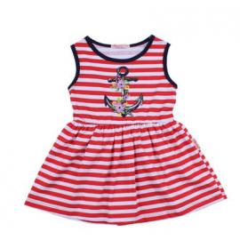 Платье для девочки Морячка, красный