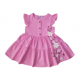 Платье сатиновое для девочки Сакура, розовый