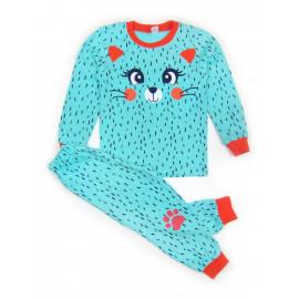 Пижама для девочки Киса, ментоловый